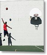 Two Young Men Playing Basketball Metal Print