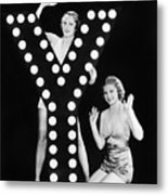 Two Young Women Posing With The Letter Y Metal Print