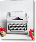 Typewriter With Merry Christmas Text And Gifts Metal Print