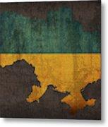 Ukraine Country Flag Map Metal Print