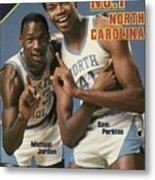 Unc Michael Jordan And Sam Perkins Sports Illustrated Cover Metal Print