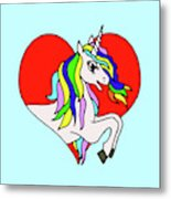 Unicorn In The Heart On Baby Blue Kids Room Decor Metal Print