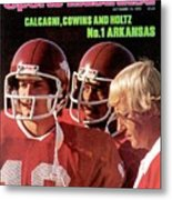 University Of Arkansas Coach Lou Holtz, Qb Ron Calcagni Sports Illustrated Cover Metal Print
