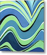 Untitled  Abstract Blue And Green Metal Print