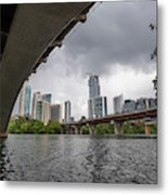 Urban Skyline Of Austin Buildings From Under Bridge With Stormy  Metal Print