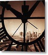 Usa,new York City, Brooklyn Bridge And Metal Print