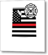 Utah Firefighter Shield Thin Red Line Flag Metal Print
