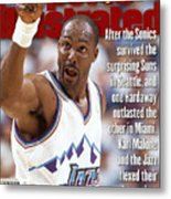 Utah Jazz Karl Malone, 1997 Nba Western Conference Sports Illustrated Cover Metal Print