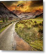 Valley Sunset Snowdonia Metal Print