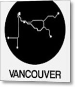 Vancouver Black Subway Map Metal Print