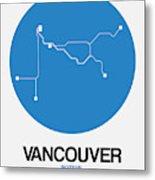 Vancouver Blue Subway Map Metal Print