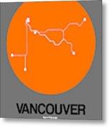 Vancouver Orange Subway Map Metal Print