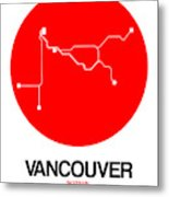 Vancouver Red Subway Map Metal Print