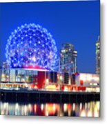 Vancouver Science World At Night Metal Print