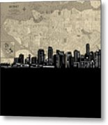 Vancouver Skyline Map Metal Print