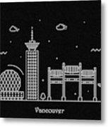 Vancouver Skyline Travel Poster Metal Print
