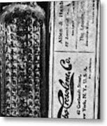 Vapo-cresolene Vaporizer Liquid Poison Bottle Black And White Metal Print
