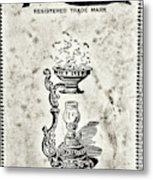 Vapo-cresolene Vaporizer Original Packaging Black And White Metal Print