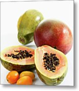 Variety Of Fruits On White Background Metal Print