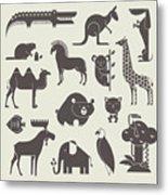 Vector Animals Set Metal Print