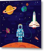 Vector Flat Space Elements With Metal Print