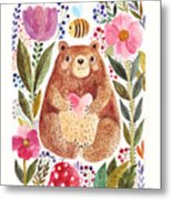 Vector Illustration Adorable Bear In Metal Print