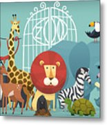 Vector Illustration Card With Animals Metal Print