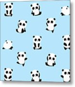 Vector Pattern Panda Bear Pattern On Metal Print