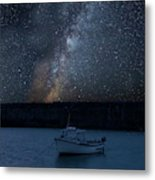 Vibrant Milky Way Composite Image Over Landscape Of Fishing Boat Metal Print