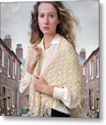 Victorian Woman On A Cobbled Terraced Street Metal Print