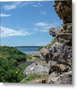 View From Pennard Castle Square Metal Print