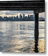 View Of Downtown Seattle At Sunset From Under A Pier Metal Print