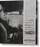 Vintage Alitalia Airline Advertisement Metal Print