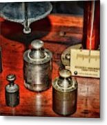 Vintage Apothecary Pharmacist Weights And Scale Metal Print