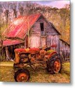Vintage At The Farm Watercolors Painting Metal Print