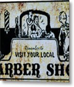 Vintage Barber Sign From The 1950s Metal Print