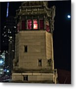 Vintage Chicago Bridge Tower At Night Metal Print