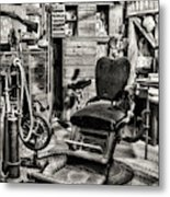 Vintage Dentist Office And Drill Black And White Metal Print