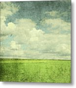 Vintage Image Of Green Field And Blue Metal Print