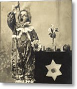 Vintage Photo Of Child Sword Swallower Metal Print