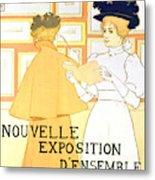 Vintage Poster Advertising A Exhibition At The Salon Des Cent, 1896  Metal Print