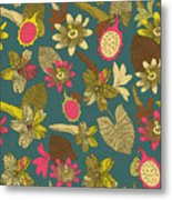 Vintage Seamless Tropical Flowers With Metal Print