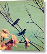 Vintage Spring Image With Swallows And Metal Print