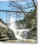 Vintage Train Trestle With Waterfalls Metal Print