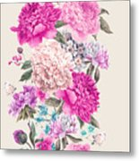 Vintage Watercolor Vector Floral Metal Print