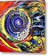 Violet Fish On Red And Yellow Metal Print