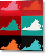 Virginia Pop Art Map Metal Print