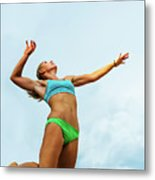 Volleyball Player Serving In Mid-air Metal Print