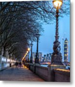 Walk Along The Thames In London Metal Print