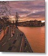 Walking Along The Seine At Sunset Metal Print